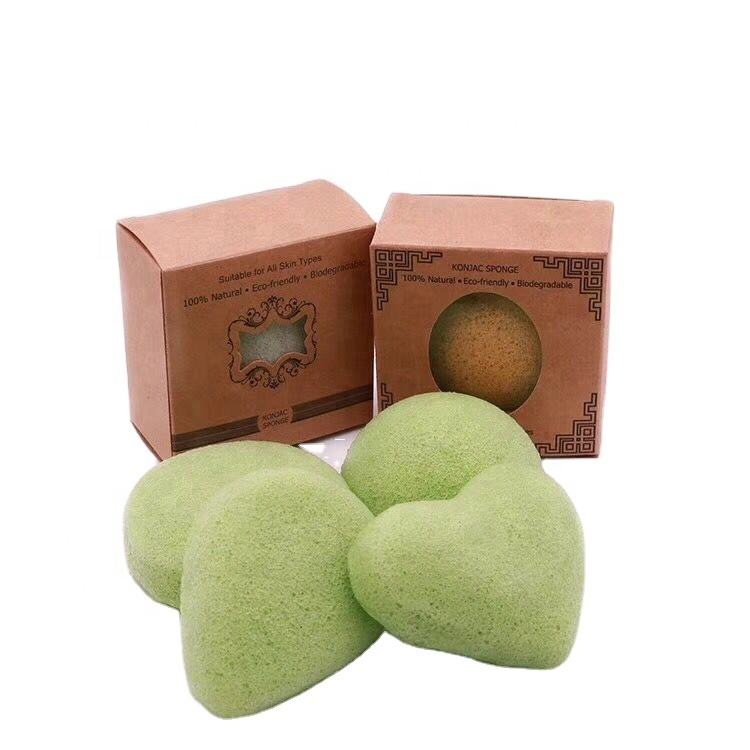 Amazon Best Seller High Quality Organic Green Konjac Sponge Customized Package Face Clean Sponge Soft Dry Konjac Sponge