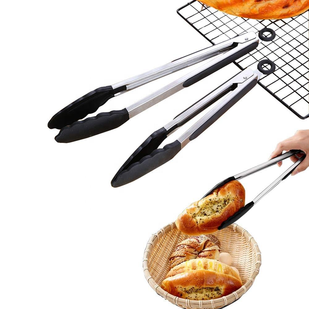 Stainless Steel Food Tongs with Silicone Tips for Barbecue, Salad, Grilling, Frying, Cooking