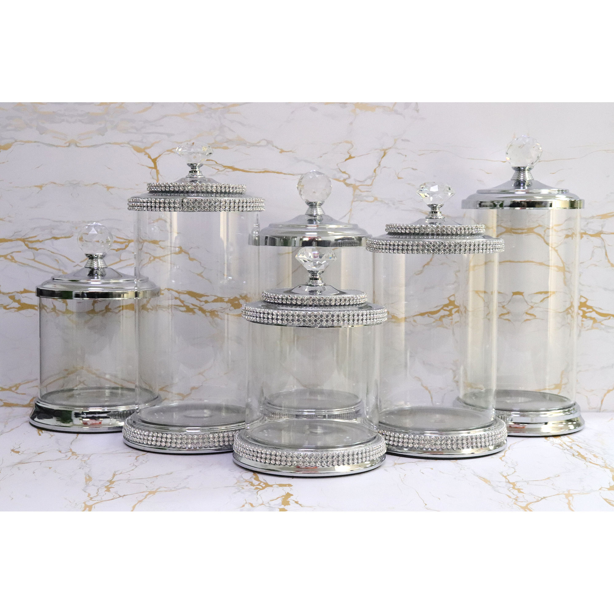 Glass Jar Silver Decor Acrylic Cookie Candy Weed Wholesale Mason Luxury Crystal Storage Bottles Containers Glass Jar With Lid