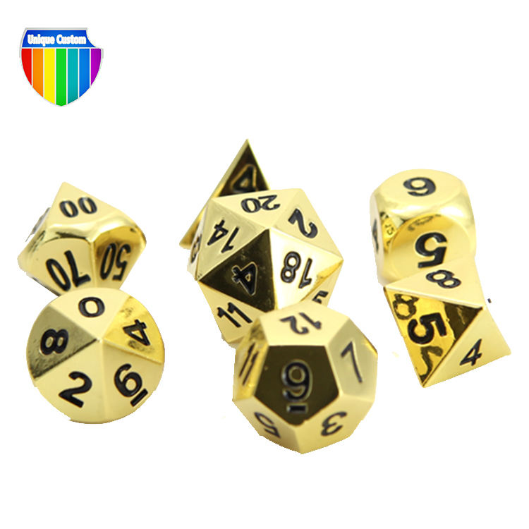 China Manufacturer Custom Metal Polyhedral Dice Zinc Alloy Casting Enamel Colorful 4 6 8 10 12 20 Sides Game Dice