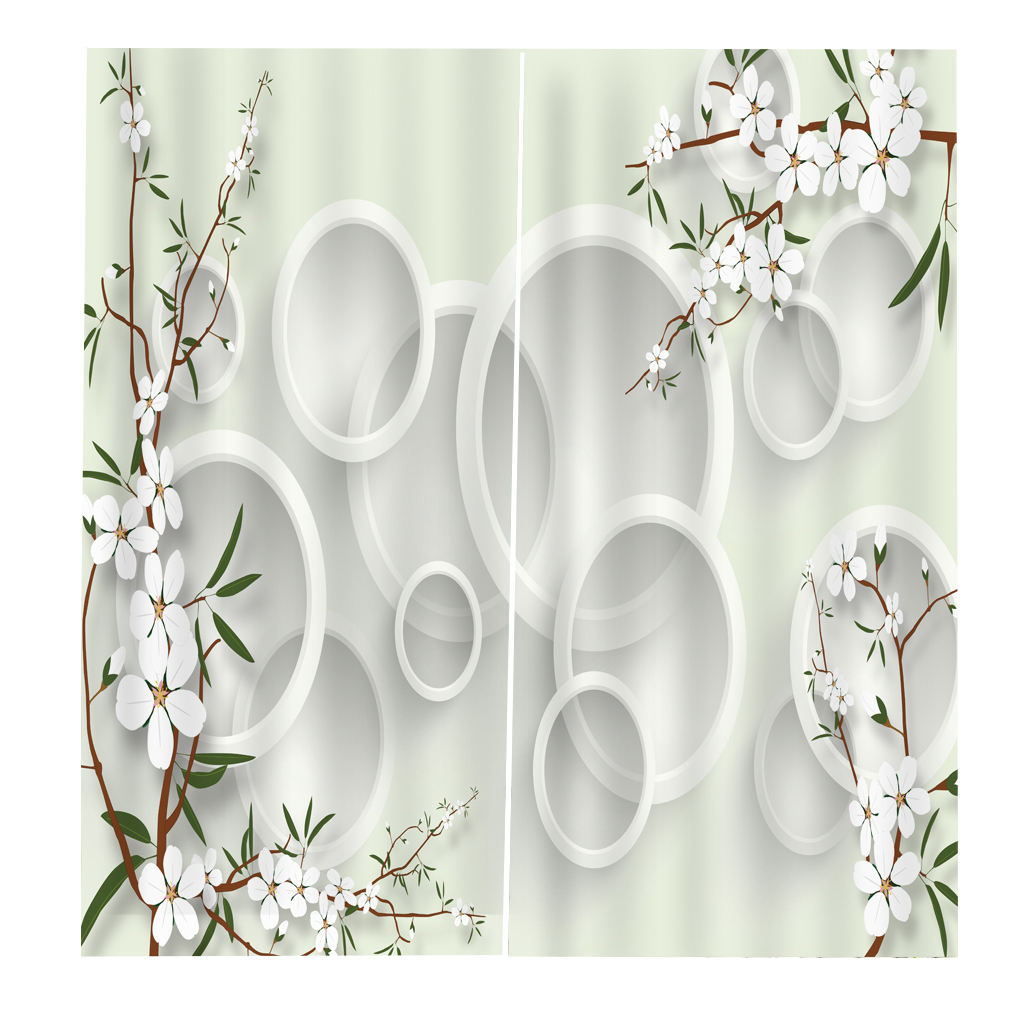 Custom Modern Design Digital Printed 3d PVC 100% Blackout Fabric Ready Made Window Curtain for Home Hotel Office Decor
