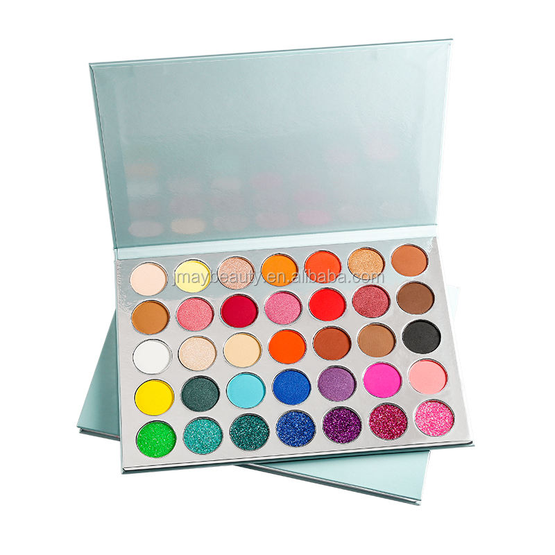 Private Label Cosmetics Makeup Factory Wholesale 35 Color Shimmer Eye Shadow Silver Eyeshadow Palette Packaging