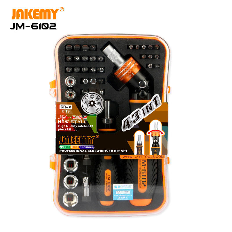 JAKEMY 43 pcs in 1 Adjustable 180 Degrees Ratchet Screwdriver Set for Mobile Phone Laptop Home Appliance DIY Repair Tool