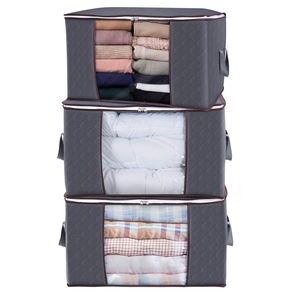 Large capacity quilt storage bag clear window Folding bag clothes blanket bedding storage organizer under bed storage bag