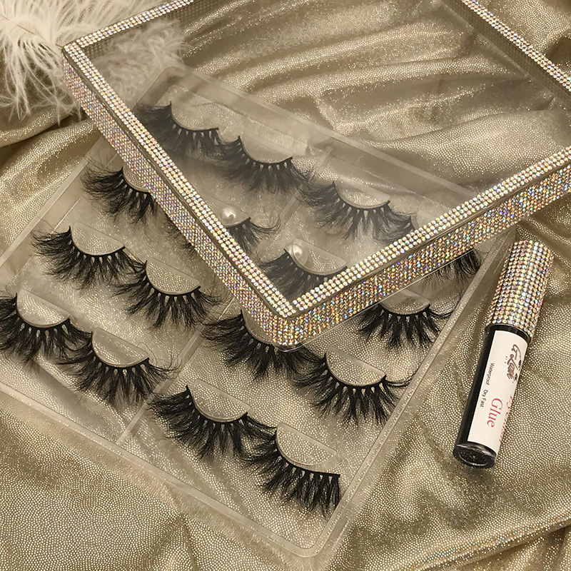 Mink Eyelashes Vendor 5D Mink Eyelash Boxes Glitter Lash Private Case Wholesale 3D Mink Lashes New Style Lashbox Rhinestone Box