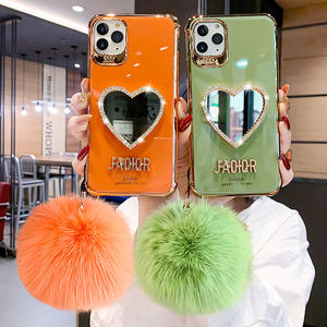 Make-Up Spiegel Rode Siliconen Soft Phone Case Voor Iphone 12 Telefoon Case Met Hairball