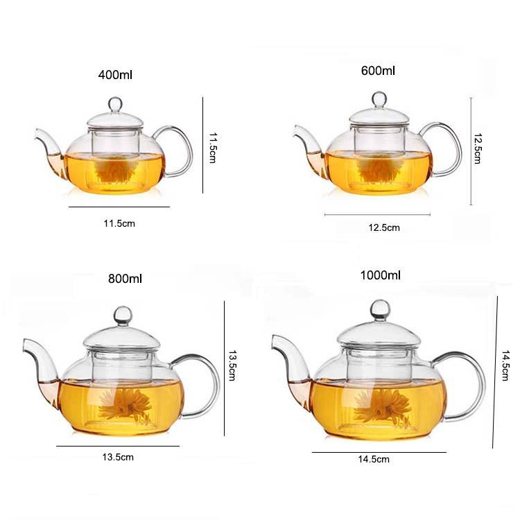 Hot selling 400ml 600ml 800ml 1000ml pyrex glass teapot with strainer flower pot glass tea pot with infuser