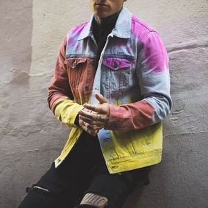 Street style colorblock denim jacket wholesale mens casual fit jeans jacket