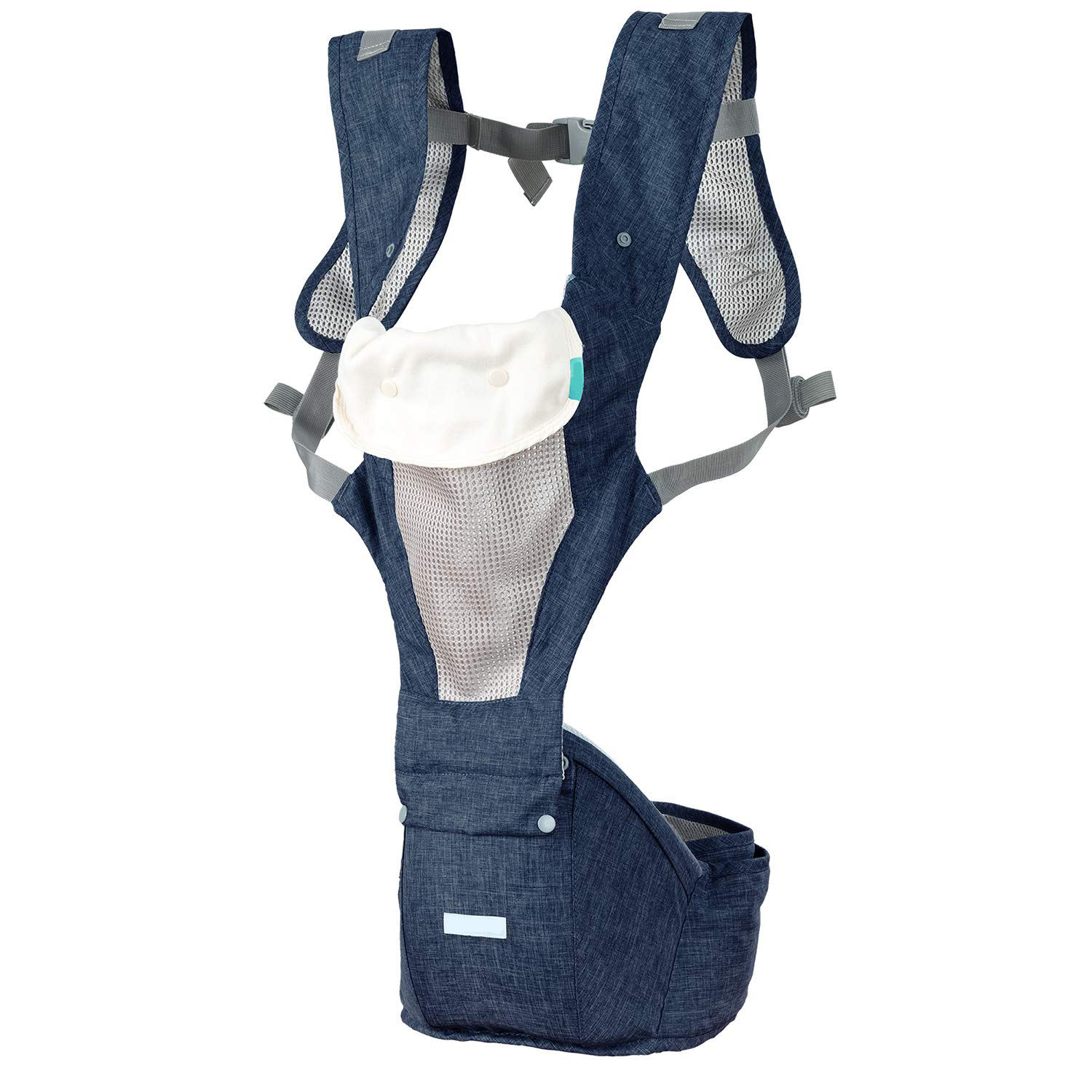 Classic Soft Baby Carrier with Adjustable Shoulder Straps and Waistband for Comfort,-Navy Blue with Bib
