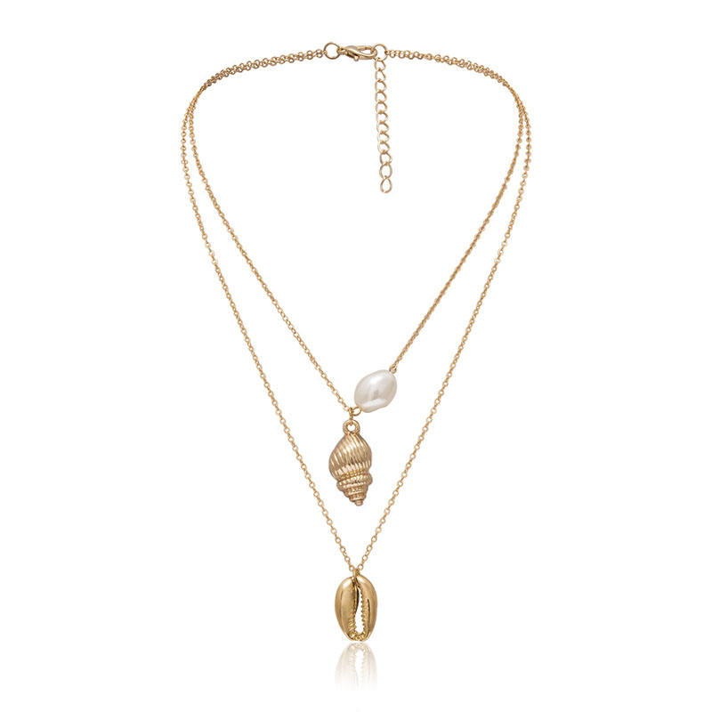 JINGB Sweater Necklace Golden Color : Golden Horse Pendant Faux Opal Inlaid Necklace Women Sweater Chain Jewelry