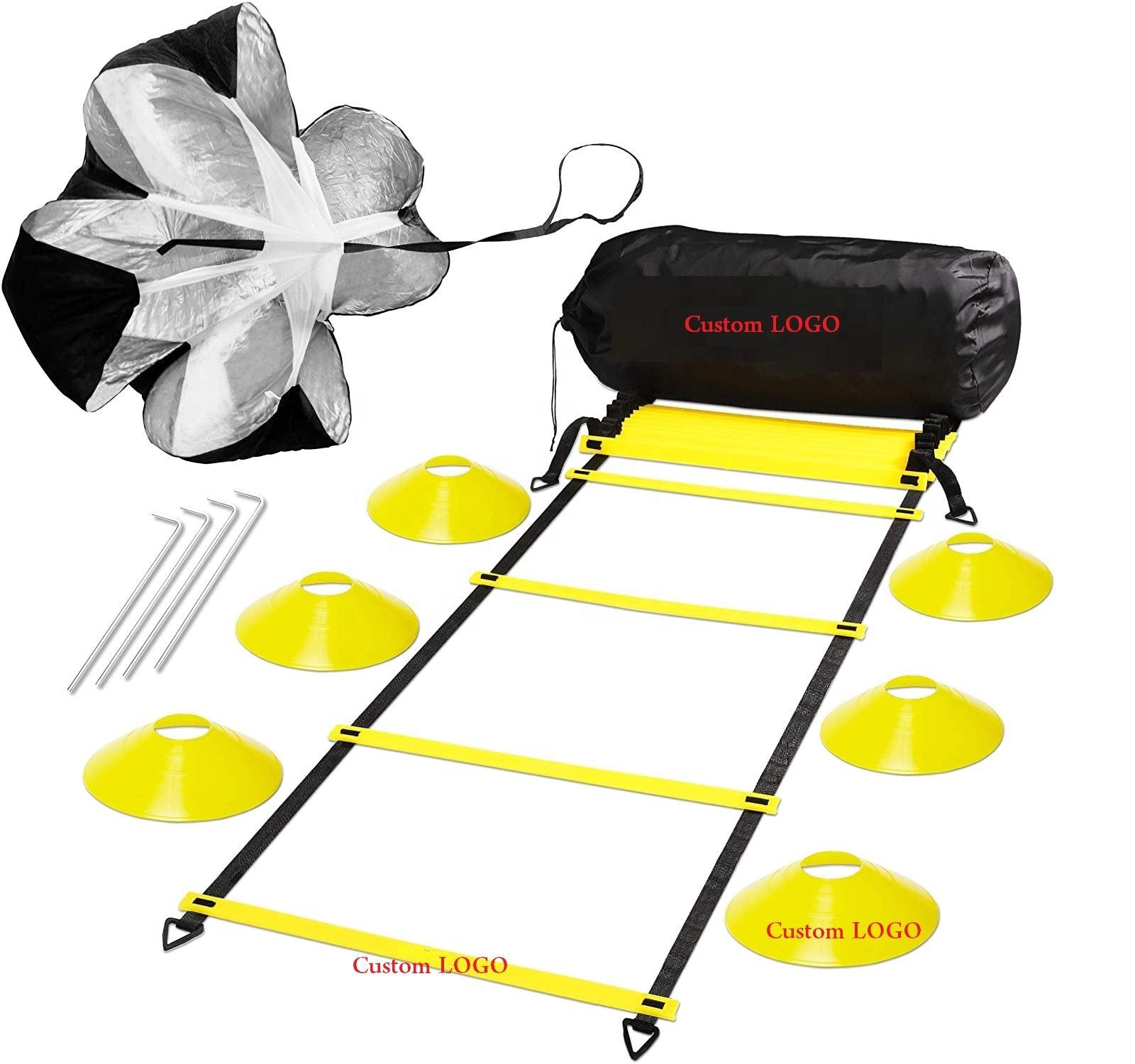CH6003 Agility Ladder Soccer Disc Cones Resistance Parachute, Agility Training Set For Fitness Training