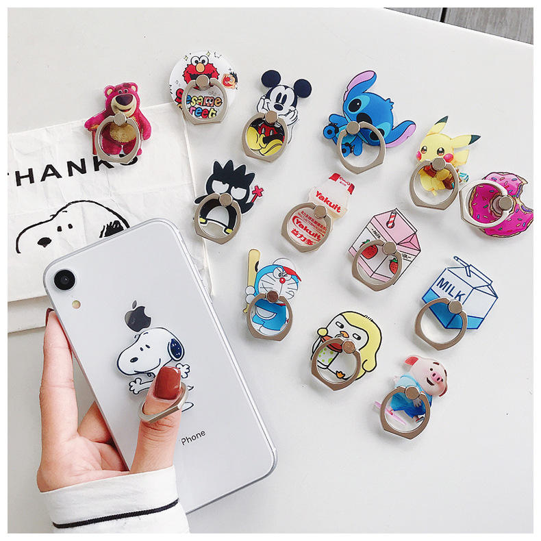 cute cartoon acrylic mobile phone stand holder metal cell phone ring stent phone accessories