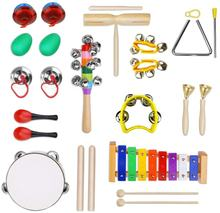Toddler Educational&Musical Percussion for Kids&Children Instruments Set 18 Pcs With Tambourine,Maracas,Castanets&More