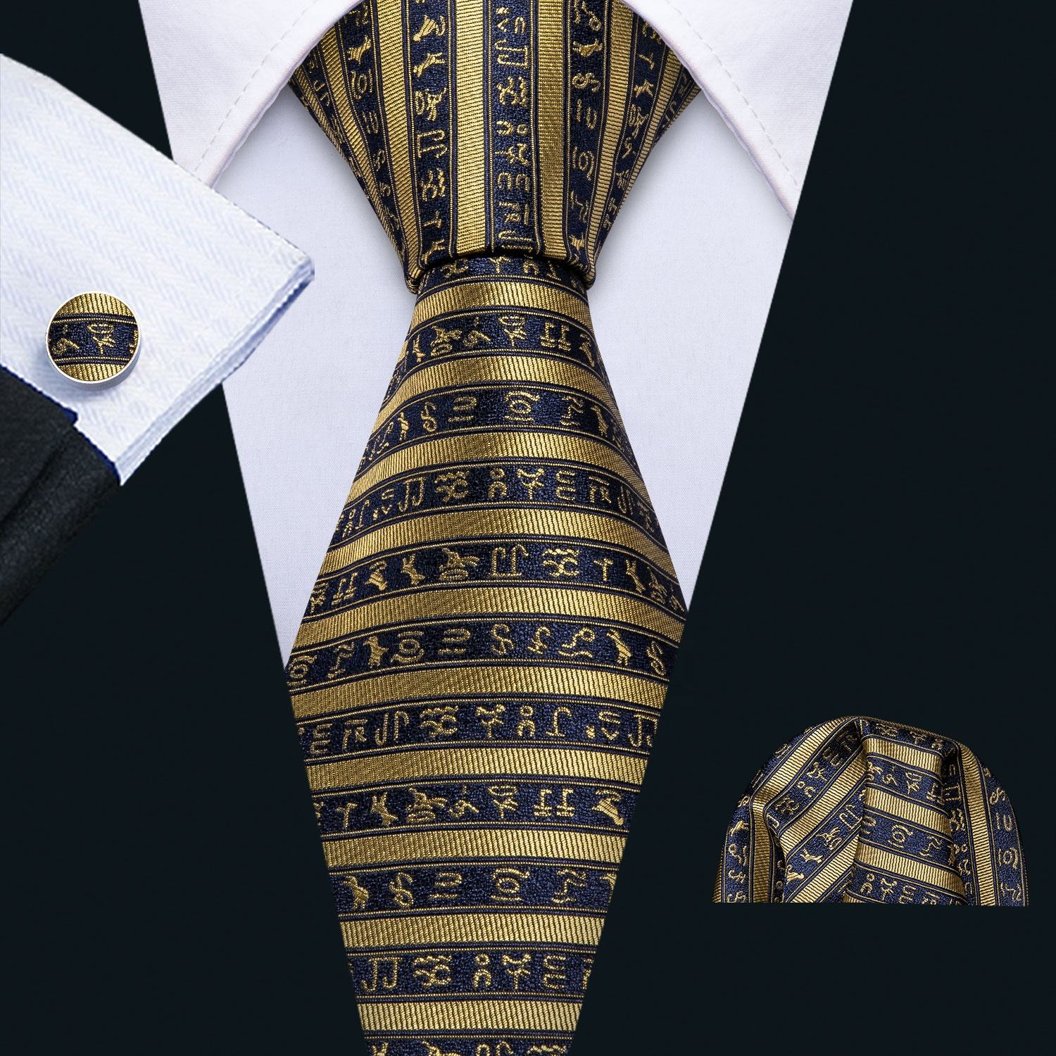 Dropshipping Silk Necktie Magic Character Striped Black Gold Ties for Men