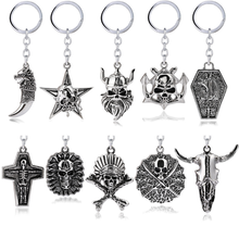 Retro Punk Style Key Chain Pop Cross Pirate Five-pointed Star Tribal Skeleton Wolf Tooth Beard Pharaoh Metal Keychain
