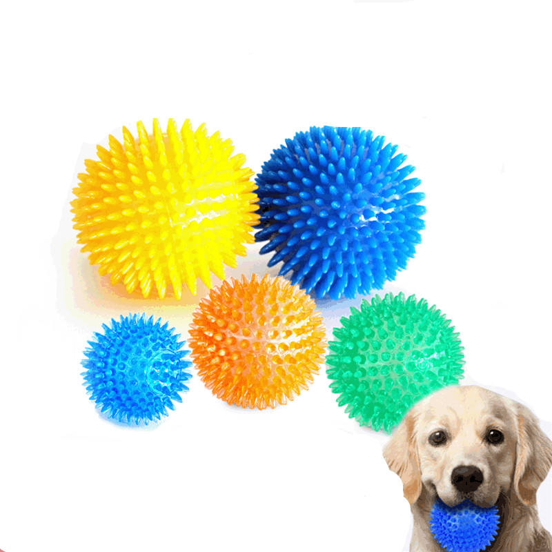 Pet supplies cleaning dog teeth chewing noise toy dog biting toy spiky ball dog toothbrush toy