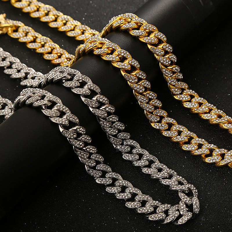 2020 Wholesale Hiphop Iced Out Full Crystal Cuban Link Chain Bracelet Necklace Silver Gold Men
