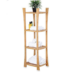 Bathroom Four Tier Free Standing Natural Bamboo Corner Shelf for Towel And Shower Supplies