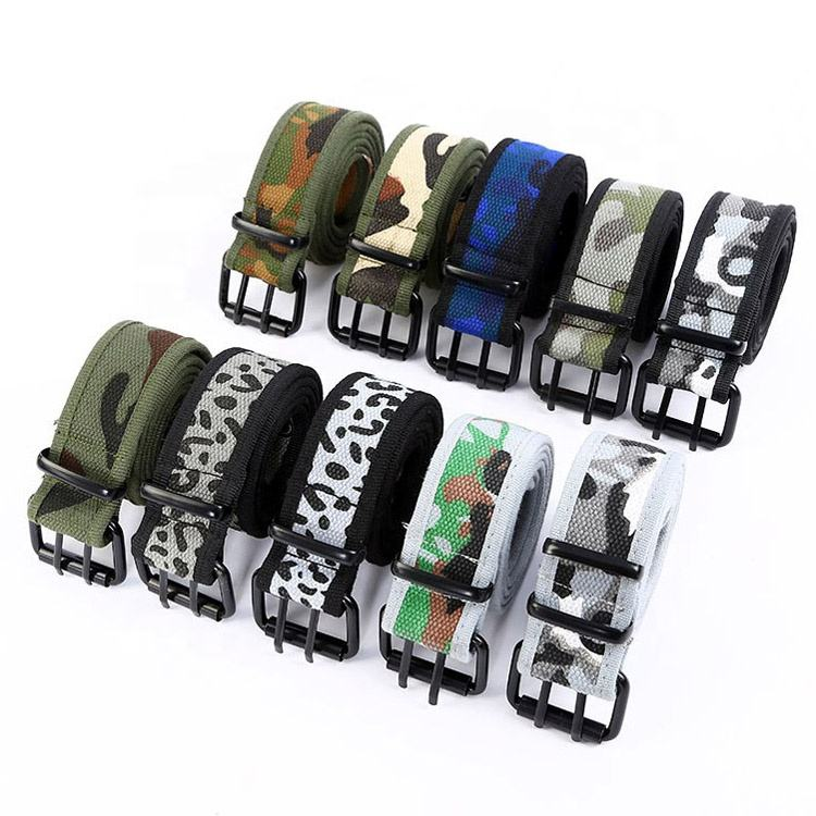 Custom Printed Camouflage Cotton Polyester Double Eyelet Web Canvas Belt for Casual Jeans