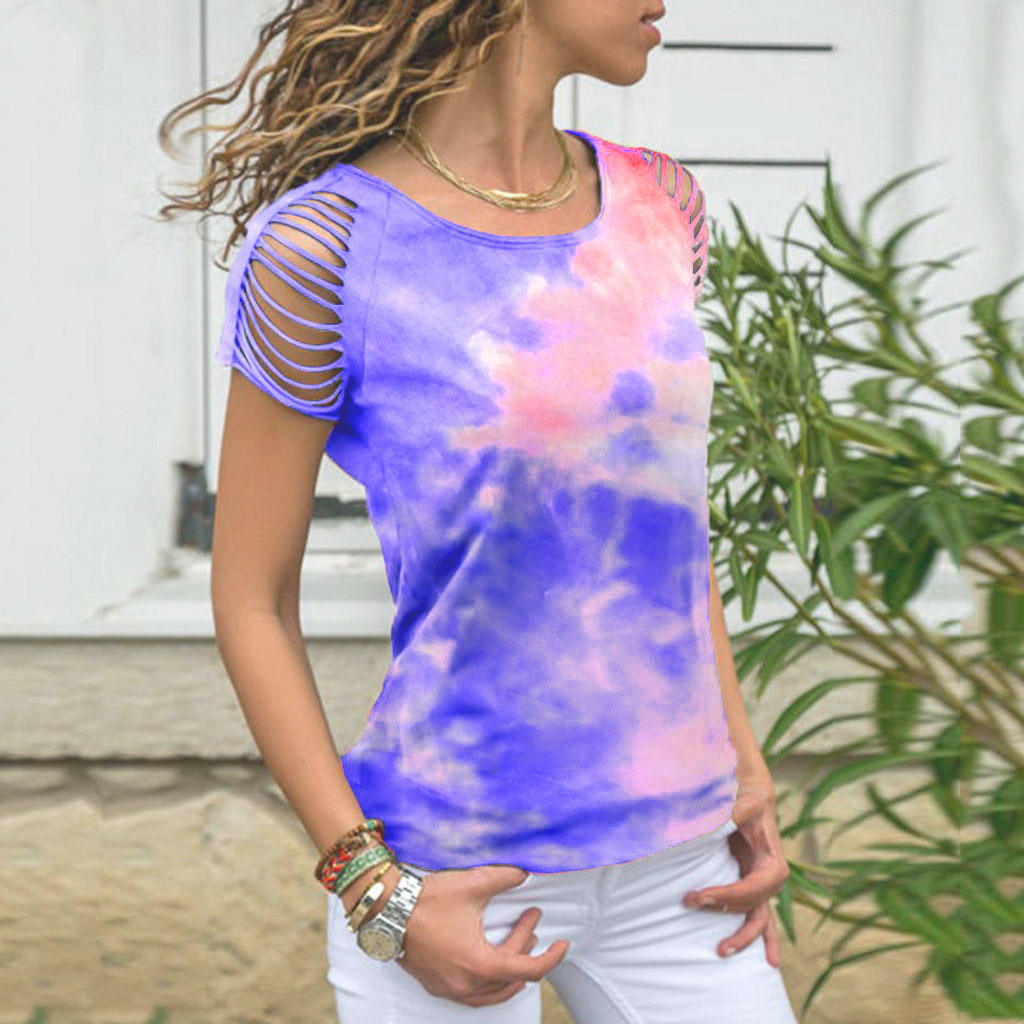 Summer Design Women Ripped Shoulder Tee Multicolor Tie dye T Shirt For Daily