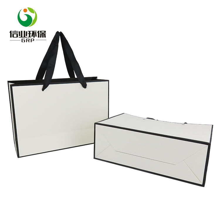 cheap custom print white shopping gift paper bag print with logo