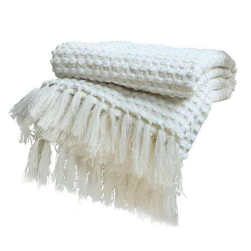 2020 Best Custom mantas frazadas Blended Yarn Chunky Knit Blanket White Weave Throw Sofa Blanket