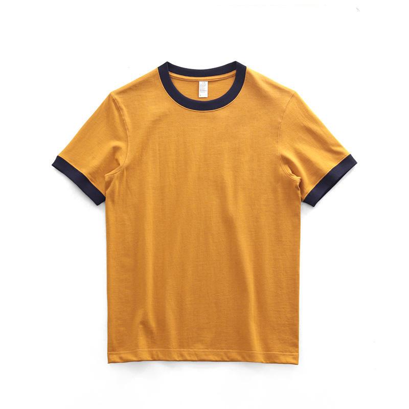 260g 100% Cotton T-shirt Contrast Roller Neck May Retro Short Sleeve T-shirt Ringer Tee