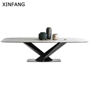 Modern marble living room furniture Retro Style square dining room tables