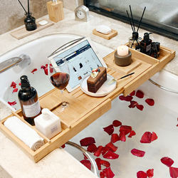 Multi-Function Bamboo Wooden Bath Tub Bathtub Caddy Tray With Extending Sides