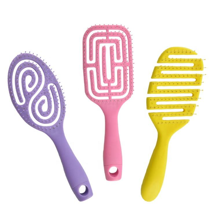 NEW Wholesale Hot Selling Eco-friendly Custom Color Waterproof Massage Plastic Portable ABS Pink Detangling Hair Brush