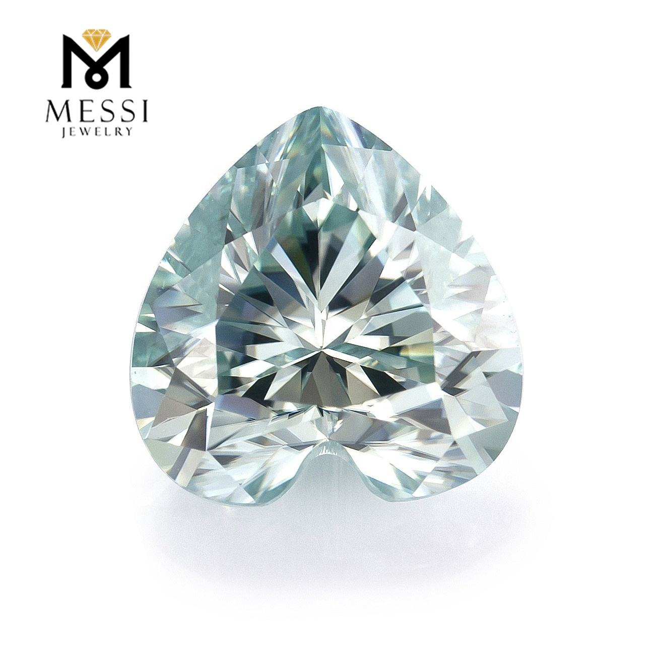 Messi Jewelry Light Blue Moissanite Gemstones For Making 8x8mm Heart Shape Loose Polished Stone