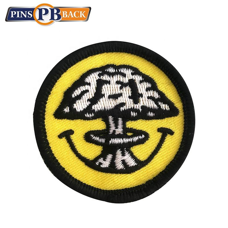custom smile tree 3d embroidery woven patch custom badge iron on embroidery patch no moq for clothing best quality