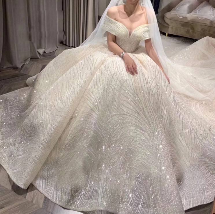 Off-Shoulder New Bride Beige Star Luxury Word Shoulder Robe De Mariage Dream Tail Court Wedding Dresses