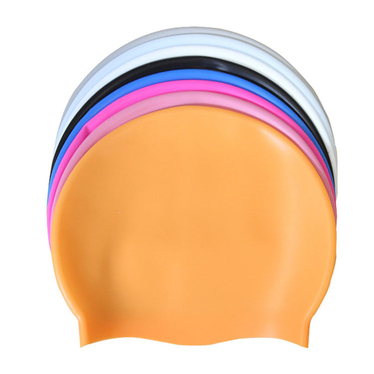Woman Long Hair Flexible Silicone Swim Cap with Custom Printing