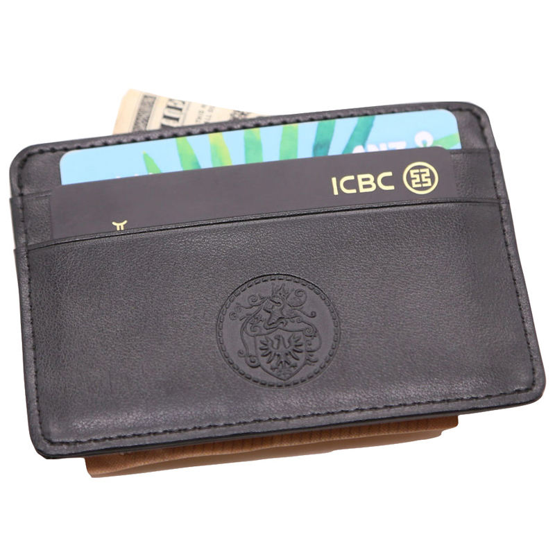 luxury credit card holder custom logo money clip genuine leather for men mini wallet