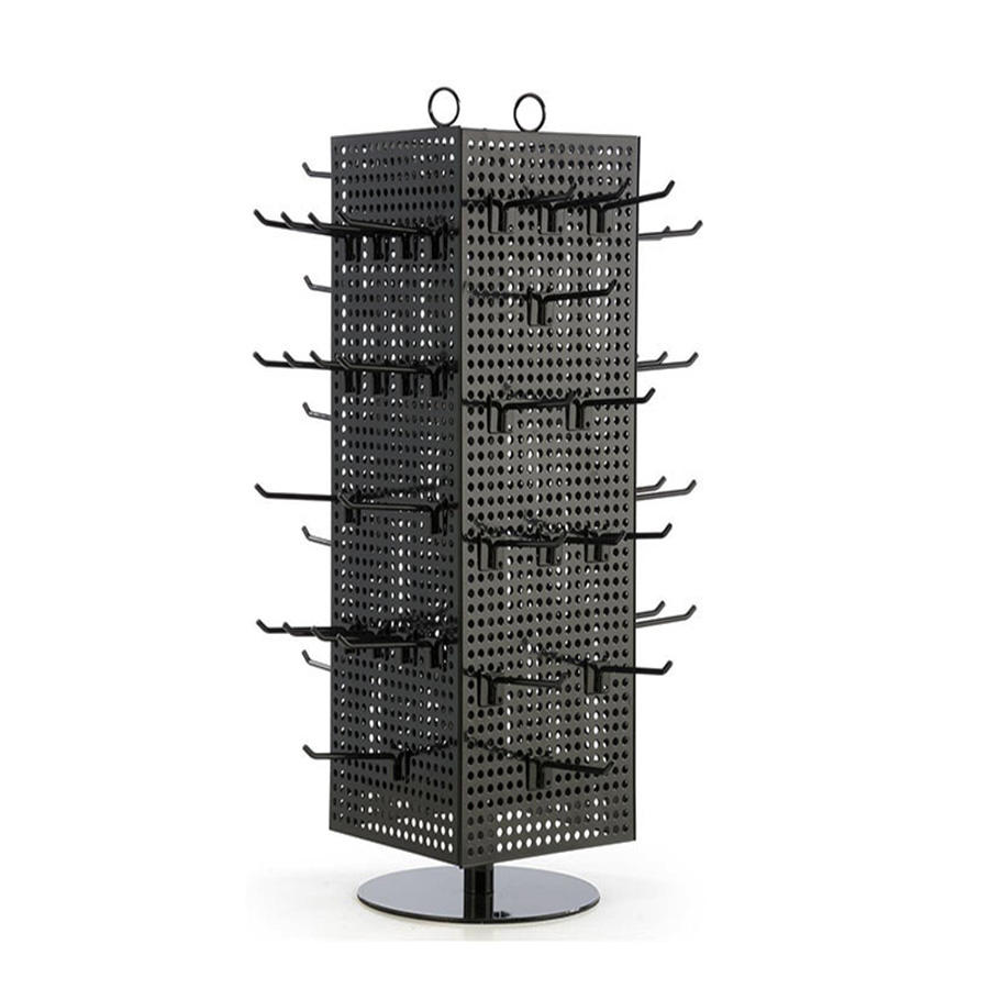 Free standing 4 sides metal hook pegboard hanging display rack 360 Rotate Hanging Spinner Metal Display Stand Rack