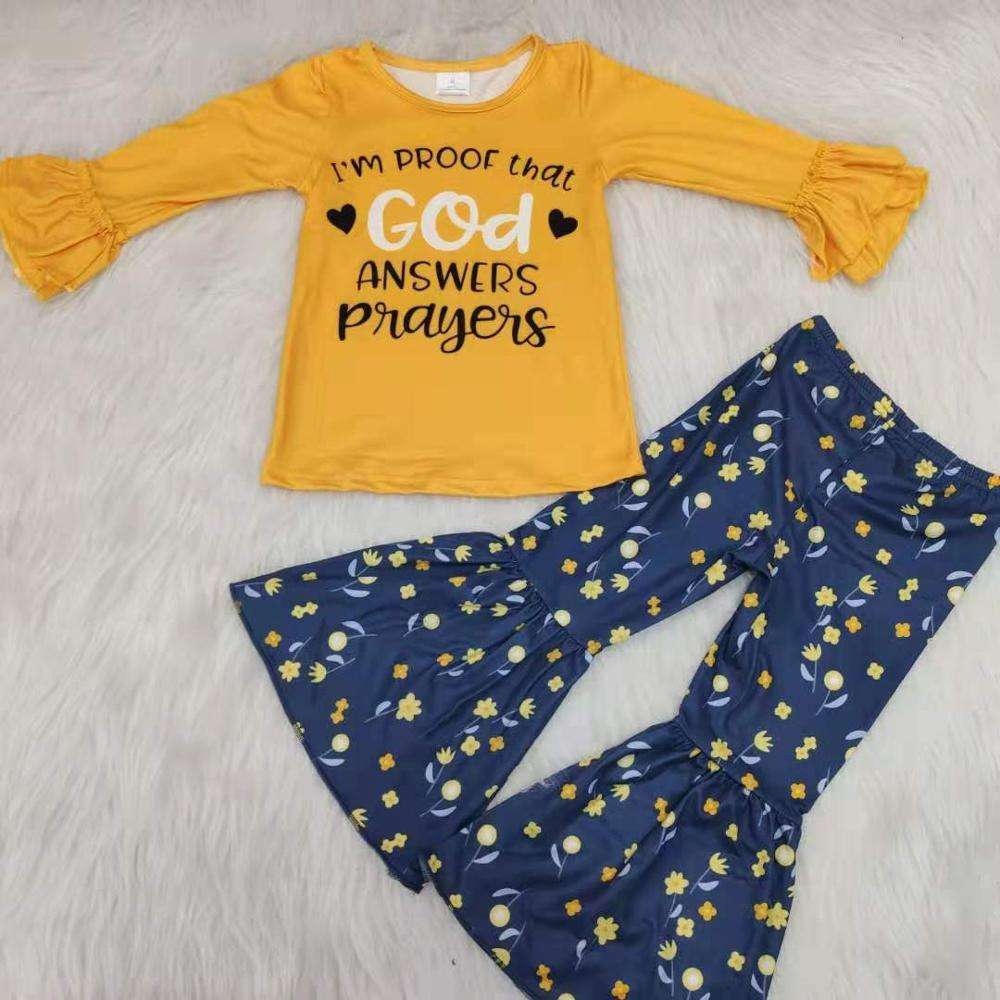 Neue design Thanksgiving outfit boutique kinder rüsche kleidung sets kinder langarm herbst herbst boutique baby mädchen outfits