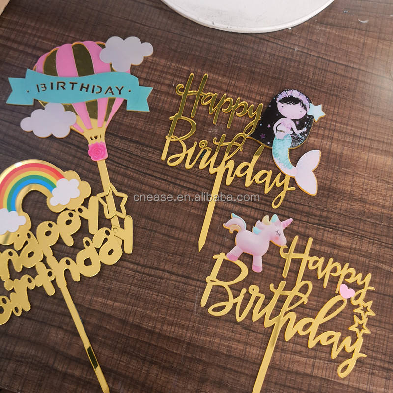 Colorful acrylic cake topper happy birthday for kids baby birthday Unicorn Mermaid Rainbow