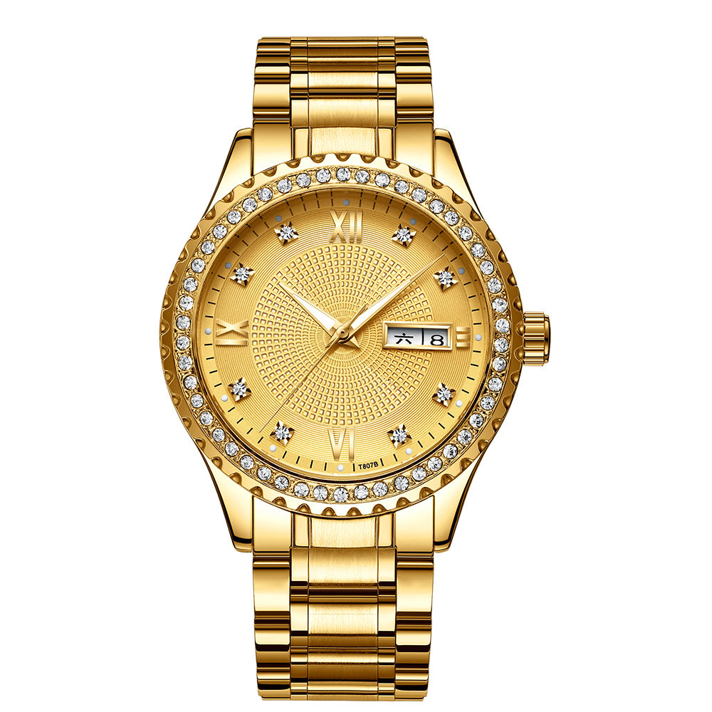 Diernuo Best Selling Bling Style Men Gold Watches With Diamonds Customer Logo Available
