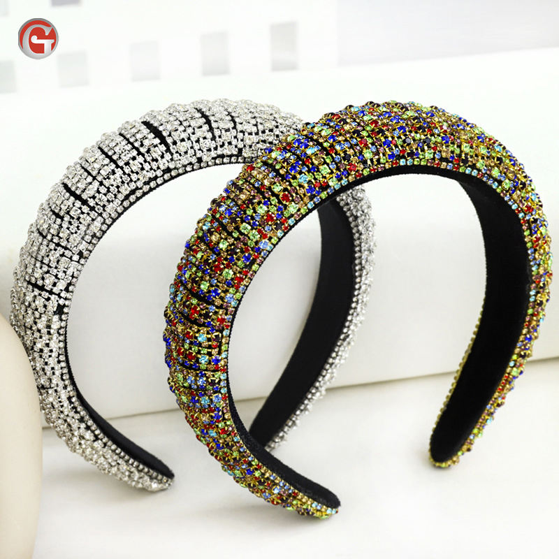 Rainbow Bejeweled Padded Fashion Luxurious Sponge Crystal rhinestone girls diamond hairband headband for 2020 women