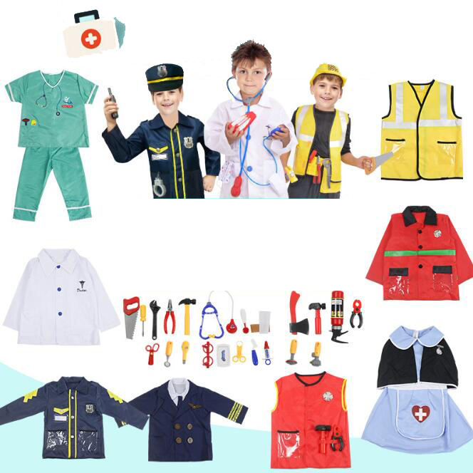 Police lawyer pilot doctor worker halloween cosplay costumes for kids