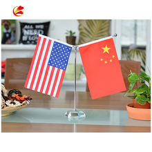 Cheap Wholesale Customized American Desk Mini Small top Flags Stand Table Flag for office
