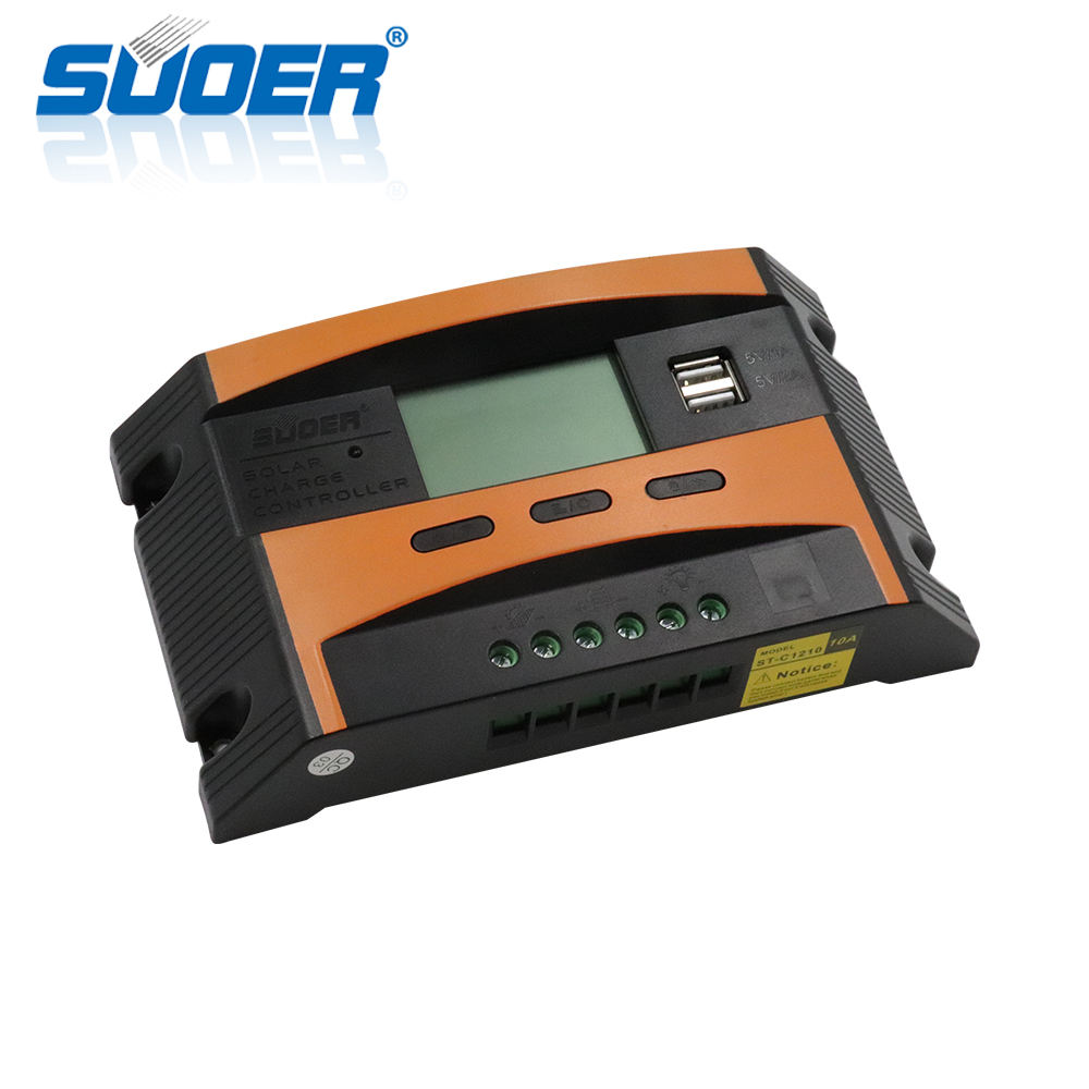 Suoer 12 V/24 V 10A PWM Manual LCD Solar Charge Regulator Baterai Controller