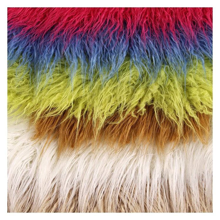 Long Pile Curly Rainbow Fake Plush Faux Mongolian Lamb Fur Fabric For Toys