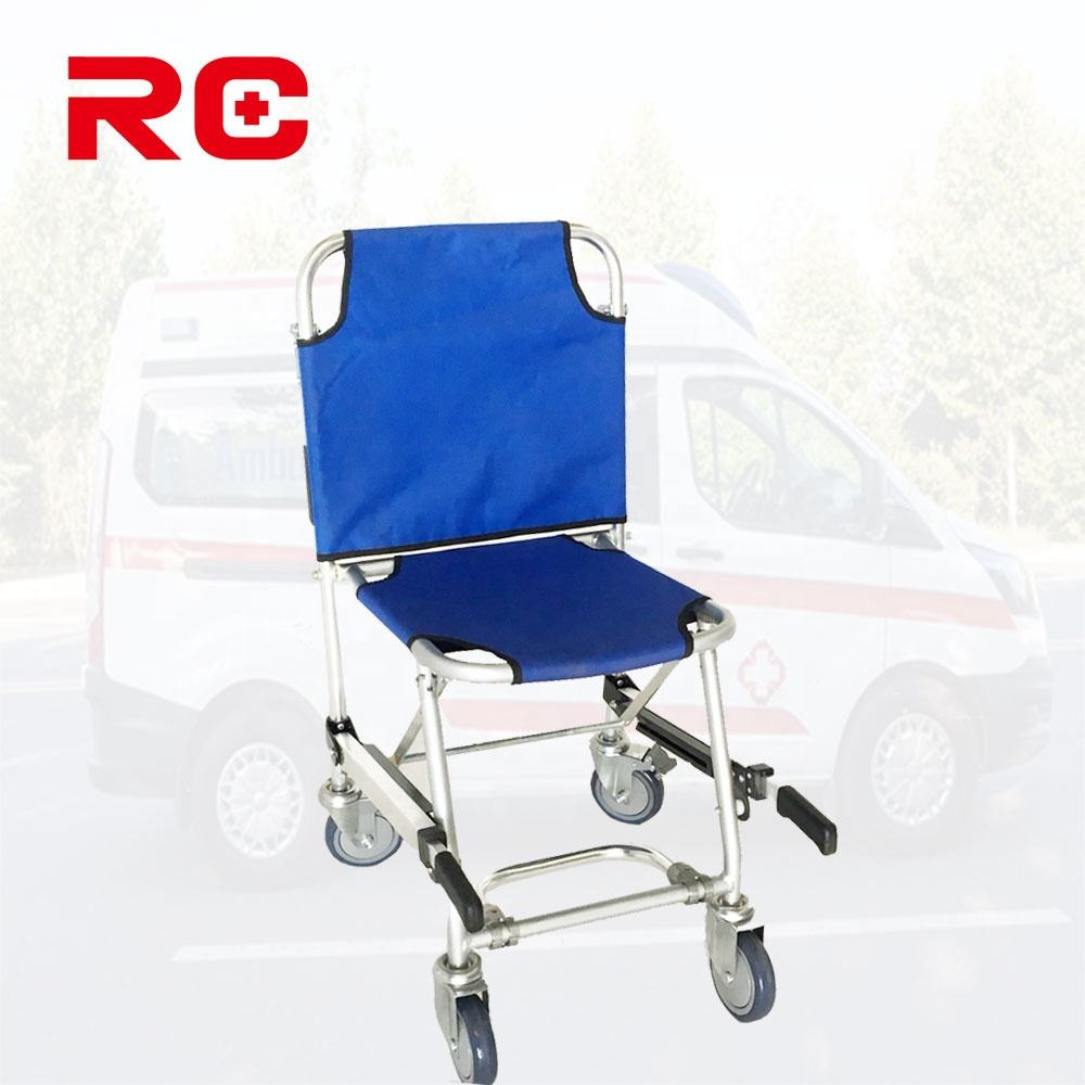 Durable Aluminum Emergency Medical Folding Stair Chair Folding Stretcher With 4 Wheels