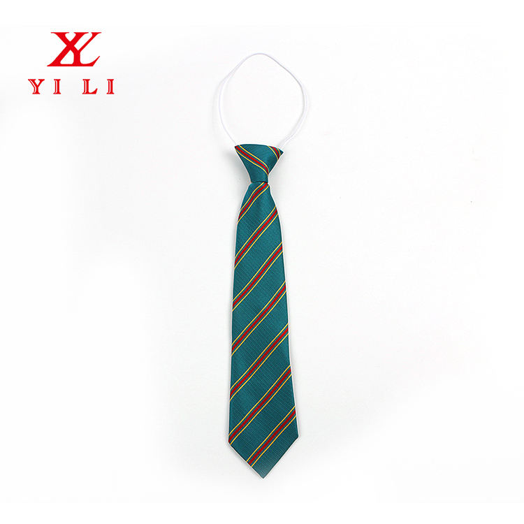 High Quality 100%Polyester Jacquard Comfortable Short Stripes Elastic Tie For Children
