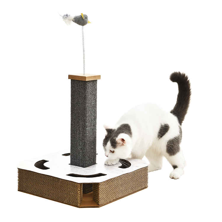 Tianyuan pet cat tree corrugated paper cat scratcher interactive cat toy with 2 bell balls