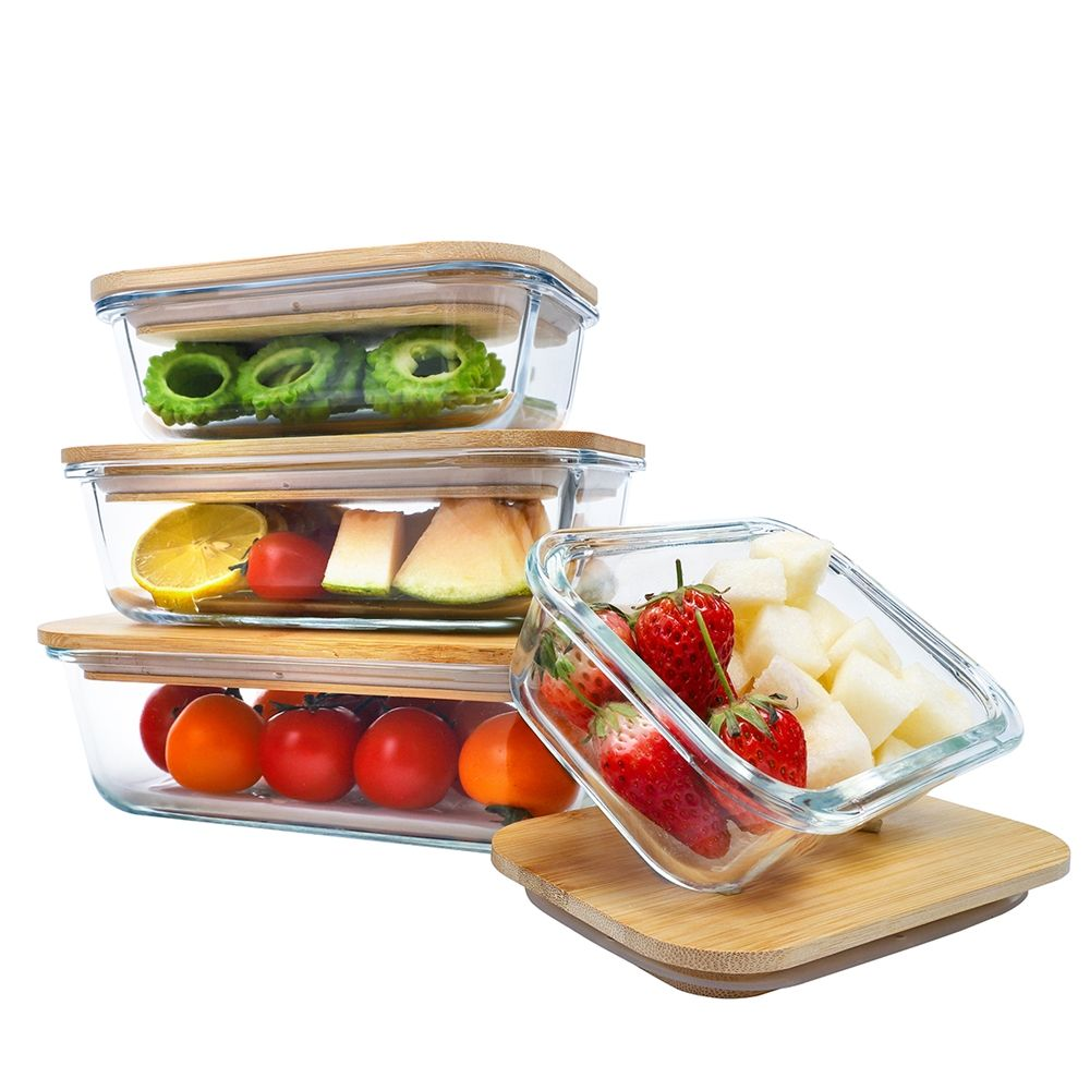 New arrival glass food storage container bamboo lid food takeaway container