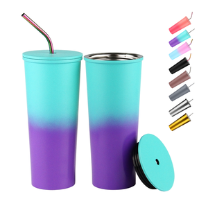 24oz double walled stainless steel coffee tumbler insulated color changing tumbler with lid and straw
