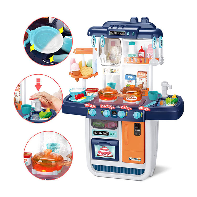 Little Realistic Play Kids Kitchen Sets Play Sink Running Water Dessert Shelf Toys for Girls